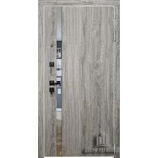 Дверь входная Tesla, цвет дуб мелфорд софт lw, панель - tesla цвет ясень капучино софт зеркало bronze321