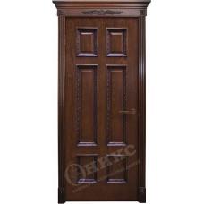 Дверь Оникс ГРАНД, Красное дерево с черной патиной, штапик Флора (ПГ)