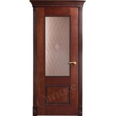Дверь Оникс АЛЕКСАНДРИЯ 2, Красное дерево с черной патиной (ПО)