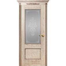Дверь Оникс АЛЕКСАНДРИЯ 2, Патина, стекло Вензель