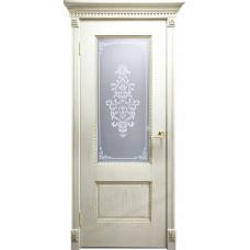 Дверь Оникс АЛЕКСАНДРИЯ 2, Патина золото, стекло Вензель (ПО)