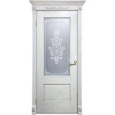 Дверь Оникс АЛЕКСАНДРИЯ 2, Патина серебро, стекло Вензель