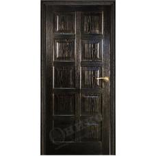 Дверь Оникс ВЕНА 2, Черная эмаль с золотой патиной (ПГ)