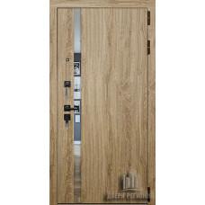 Дверь входная Tesla, цвет дуб мелфорд грей софт, панель - tesla цвет ясень грей зеркало графит321